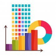 Analytics set of multicolored graphics poster vector illustration with round schedule and chart with red orange lilac and green column, many squares